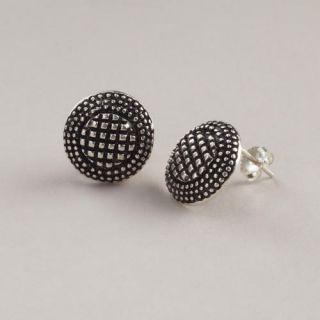 Etched Silver Stud Earrings  World Market