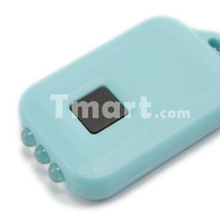 LED Mini Solar Power Flashlight Torch Keychain Light Blue   Tmart