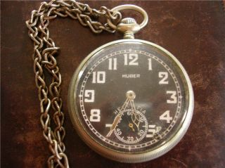 Huber Berlin/Helveti​a WWII German Army pocket watch circa 1940 (Ref