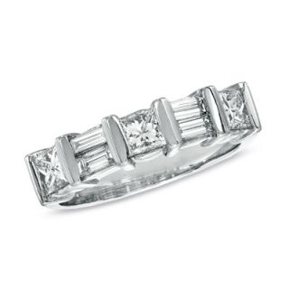 CT. T.W. Princess Cut and Baguette Diamond Wedding Band in Two Tone