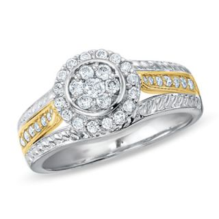 CTW. Diamond Flower Cluster Ring in 14K Two Tone Gold   Rings