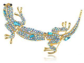 Leopard Gecko Gila Indicolite Blue Zircon Crystal Rhinestone Lizard