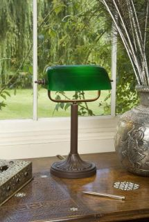 MARLOW BANKERS LAMP GREEN GLASS SHADE PSL/G283
