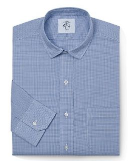 Black Fleece Mini Check Narrow Collar Shirt   Brooks Brothers