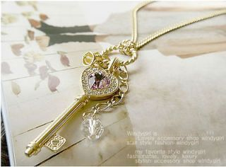 Jewelry Violet Crystal Love Key Crown Necklace Sweater Chain Gold