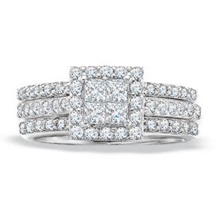 CT. T.W. Princess Cut Diamond Wedding Set in 14K White Gold
