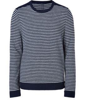 Rag & Bone Navy Striped Merino Wool Stowe Crew Pullover  Herren