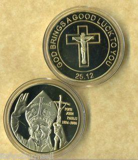POPE JOHN PAUL II 24 KT GOLD COIN GOOD LUCK NEW FV