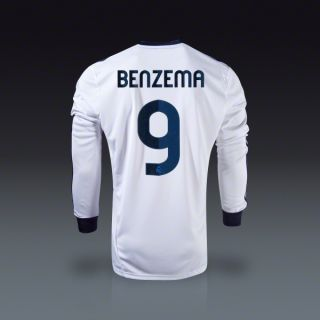 adidas Karim Benzema Real Madrid Long Sleeve Home Jersey 12/13