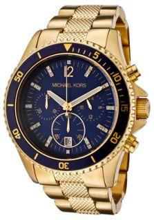 Mens Chronograph White Swarovksi Crystal Navy Blue Dial Gold Tone Ion