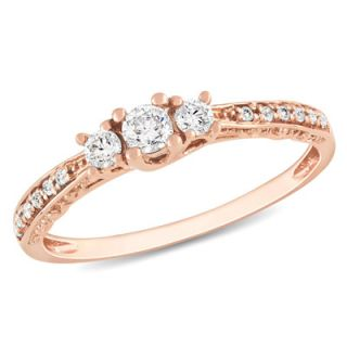 CT. T.W. Diamond Three Stone Engagement Ring in 10K Rose Gold