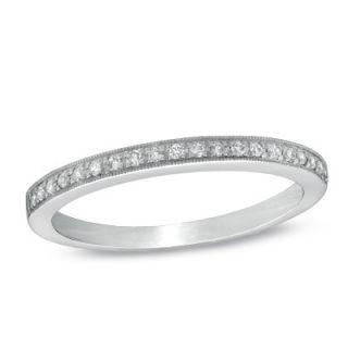 Ladies 1/10 CT. T.W. Diamond Milgrain Wedding Band in 14K White Gold