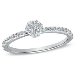 CT. T.W. Diamond Cluster Frame Promise Ring in 10K White Gold