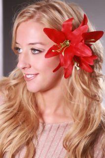 Red Gradient Printed Tropical Flower Hair Clip @ Amiclubwear Girls