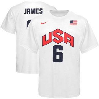 Nike LeBron James USA Basketball 2012 Replica Jersey T Shirt   White