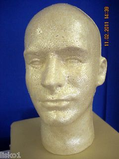TAN MALE (12 TALL) STYROFOAM MANNEQUIN WIG / HAT DISPLAY (1 head)