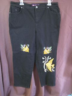 Gloria Vanderbilt Black Stretch Jeans Embroidered Plus Size 18W