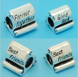 Euopean Bead SCROLL CHARM FOREVER TOGETHER, GOOD LUCK, BEST FRIEND