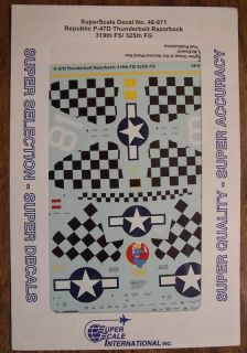 SUPERSCALE DECALS 1/48 P 47D THUNDERBOLT RAZORBACK 319TH FS/325TH FG