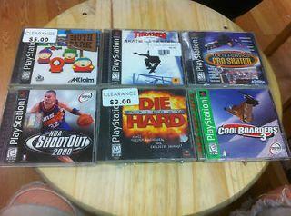Lot 85  6 Playstation PS1 Games South Park Tony Hawk Pro NBA Die Hard