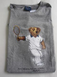Lauren Teddy Bear T Shirt Tee Top Grey Tennis Graphic Teddy Tank New