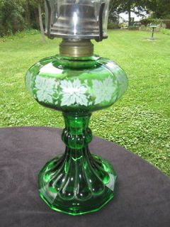 ANTIQUE GREEN GLASS OIL LAMP COLONIAL & LOOP PAINTED GRAPE LEAF QUEEN
