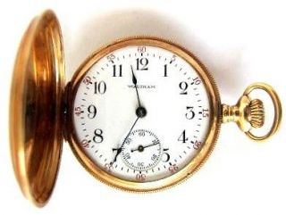 14K Solid Gold WALTHAM Pocket Watch,Size 3/0,Hunter Case, RUN