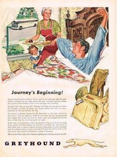 1945 GreyHound Bus Lines Journeys Beginning WWII Soldier In Bed Vtg