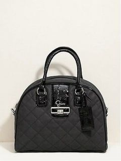 NEW GUESS QUILTED GROOVY DOME TOTE TRAVEL BAG LUGGAGE ~ ID TAG ~ BLACK