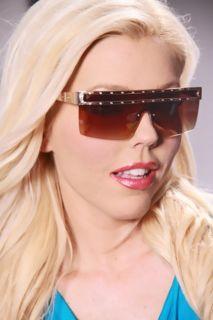 Gold Frame Less High Polish Metal Trim Sunglasses @ Amiclubwear