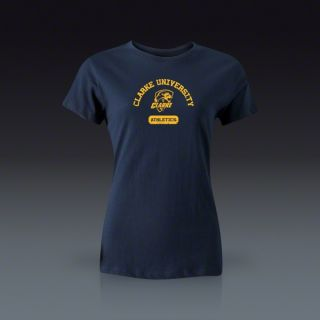Clarke University Athletics Womens Distressed T Shirt   Navy