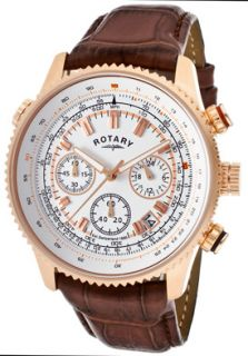 Rotary GS00102 01 Watches,Mens Chronograph White Dial Rose Gold Tone