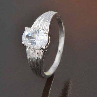 Shiny 9K White Gold Filled CZ Mens Unisex Ring,size 8,H064