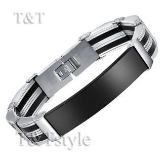 stainless steel id bracelet in Mens Jewelry
