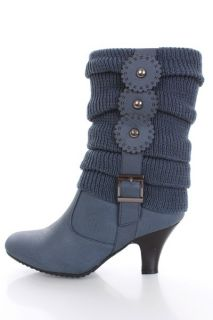 Navy Knitted Tier Sleeve Faux Leather High Ankle Boots @ Amiclubwear
