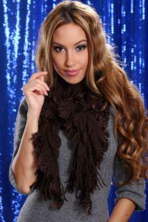 BROWN RUFFLE SCRUNCH FRINGE TRIM SCARF @ Amiclubwear scarf Online