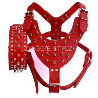 Red Leather Dog Harness & Collar SET spikes studs Pit Bull 26 34 USA