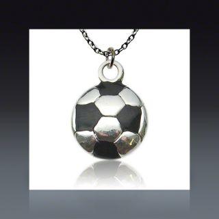 Silver & Black Soccer Ball Necklace  SOCCER