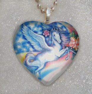 UNICORN Rainbow Horse Fantasy~HEART Shaped Glass Pendant Necklace