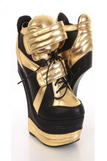 Black Gold Faux Leather Lace Up Front Sneaker Wedges @ Amiclubwear