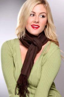 Brown Solid Print Fringed Fleece Scarf @ Amiclubwear scarf Online