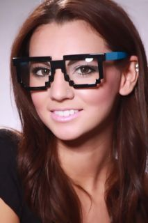 Blue Black Plastic Frames Clear Lenses Sunglasses @ Amiclubwear