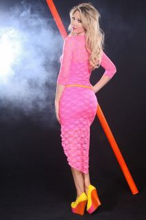 NEON PINK SCOOP NECK LACE DETAIL HIGH LOW SEXY DRESS @ Amiclubwear