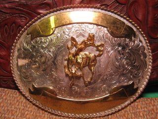 HUGE Cowboy Bucking Horse Saddle Bronc 2 Banner Belt Buckle USA Made
