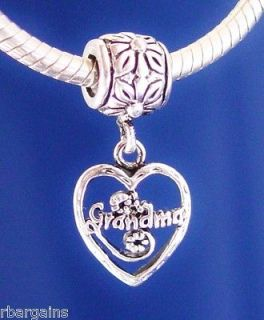GRANDMA DANGLE HEART FAMILY LOVE Silver European Charm Bead fit for