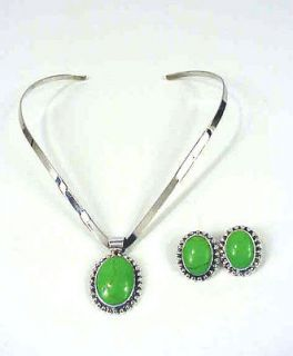 Vintage Green TURQUOISE NECKLACE & Earrings set 925 Sterling Silver