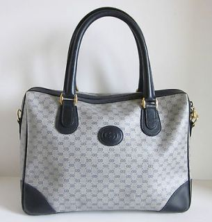 GUCCI Vintage GG Monogram Navy Blue Leather Doctor Speedy Handbag