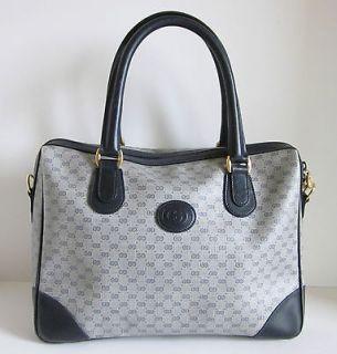 GUCCI Vintage GG Monogram Navy Blue Leather Doctor Speedy Handbag