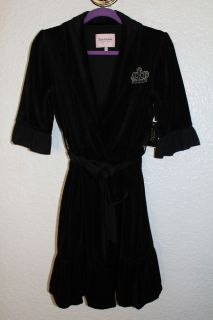 2012 NWT JUICY COUTURE New Black Crown Velour Los Angeles Tie Robe