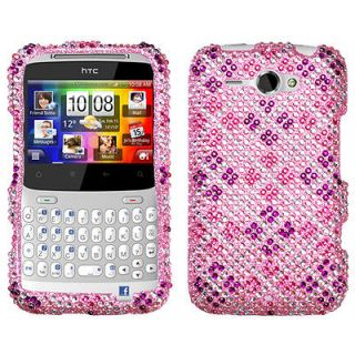 HTC Status/Chacha Case Cover Bling Rhinestones Plaid Hot Pink/Purple